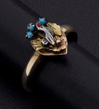 Turquoise, Silver, Gold Ring