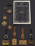 Timepieces:Other , A Lot Of Vintage Seven Fobs, One Tie Clip, One Medallion, One Pin,12 Post Cards & One Book. ... (Total: 23 Items)