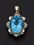 Estate Jewelry:Pendants and Lockets, Topaz, Diamond, Gold Pendant. ...