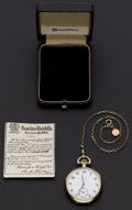 Timepieces:Pocket (post 1900), Hamilton 17 Jewel Model 914 Open Face Pocket Watch. ...