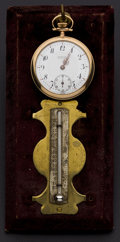 Timepieces:Other , P.W. Co. 17 Jewel Pocket Watch & Antiqued Thermometer Set On Brass. ... (Total: 2 Items)