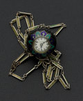 Estate Jewelry:Pendants and Lockets, Swiss, Enamel, Silver Pendant Watch. ...