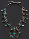 Estate Jewelry:Necklaces, Navajo Turquoise, Silver Squash Blossom Necklace . ...