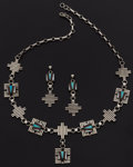 Estate Jewelry:Suites, Navajo, Multi-Stone Inlay, Sterling Silver Jewelry. ... (Total: 2 Items)
