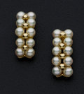 Estate Jewelry:Earrings, Cultured Pearl, Gold Earrings. ...