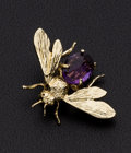 Estate Jewelry:Brooches - Pins, Amethyst, Gold Honey Bee Brooch. ...