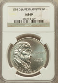 Modern Issues: , 1993-D $1 Bill of Rights Silver Dollar MS69 NGC. NGC Census:(1099/182). PCGS Population (1685/94). Mintage: 98,383. Numism...
