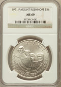 Modern Issues: , 1991-P $1 Mount Rushmore Silver Dollar MS69 NGC. NGC Census:(1128/510). PCGS Population (1834/317). Mintage: 133,139. Numi...