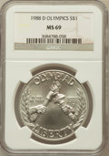 Modern Issues: , 1988-D $1 Olympic Silver Dollar MS69 NGC. NGC Census: (1873/68).PCGS Population (2000/60). Mintage: 191,000. Numismedia Ws...