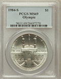 Modern Issues: , 1984-S $1 Olympic Silver Dollar MS69 PCGS. PCGS Population(1238/6). NGC Census: (968/2). Mintage: 116,000. Numismedia Wsl....