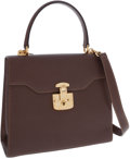 Luxury Accessories:Bags, Gucci Brown Leather Top Handle Bag with Gold Lock and Key Closure....
