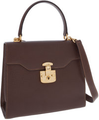 Gucci Brown Leather Top Handle Bag with Gold Lock and Key Closure