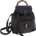 Luxury Accessories:Bags, Gucci Black Leather Bamboo Handle Backpack Bag with Front Pocket....