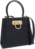 Luxury Accessories:Accessories, Salvatore Ferragamo Black Leather Top Handle Bag with GancioClosure. ...