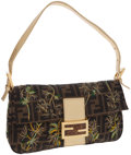Luxury Accessories:Bags, Fendi Palm Tree Embroidered Zucca Canvas Baguette Bag. ...