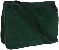 Bottega Veneta Quilted Green Suede Shoulder Bag