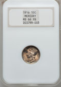 Mercury Dimes: , 1916 10C MS66 Full Bands NGC. NGC Census: (344/87). PCGS Population(365/104). Mintage: 22,180,080. Numismedia Wsl. Price f...