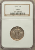 Standing Liberty Quarters: , 1921 25C AU53 NGC. NGC Census: (18/403). PCGS Population (19/563).Mintage: 1,916,000. Numismedia Wsl. Price for problem fr...