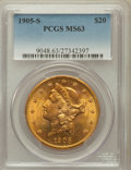 Liberty Double Eagles: , 1905-S $20 MS63 PCGS. PCGS Population (563/223). NGC Census:(336/132). Mintage: 1,813,000. Numismedia Wsl. Price for probl...