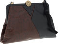 Luxury Accessories:Bags, Fendi Black Leather and Brown Lizard Clutch. ...