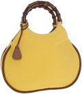 Luxury Accessories:Bags, Gucci Yellow Fabric and Bamboo Top Handle Bag. ...