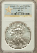 Modern Bullion Coins, 2011-W $1 Silver Eagle, 25th Anniversary Set, Struck at West PointMint MS70 NGC. NGC Census: (9672). PCGS Population (632)...