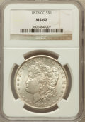 Morgan Dollars: , 1878-CC $1 MS62 NGC. NGC Census: (2895/11172). PCGS Population(3668/16118). Mintage: 2,212,000. Numismedia Wsl. Price for ...