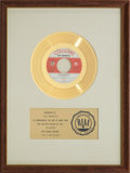 "Music Memorabilia:Awards, The Monkees ""I'm A Believer"" RIAA Gold Record Award (1966)...."