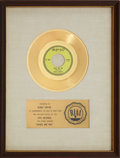"Music Memorabilia:Awards, Bobby Vinton ""Roses Are Red (My Love)"" RIAA Gold Record Award(1962). ..."