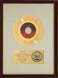 "Music Memorabilia:Awards, The Young Rascals ""Groovin'"" RIAA Gold Record Award (1967)...."