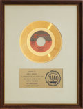 "Music Memorabilia:Awards, Nancy Sinatra & Frank Sinatra ""Somethin' Stupid"" RIAA GoldRecord Award (1967)...."