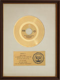 "Music Memorabilia:Awards, The Hollies ""Long Cool Woman (In A Black Dress)"" RIAA Gold RecordAward (1972)...."