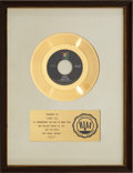 "Music Memorabilia:Awards, Tommy Roe ""Dizzy"" RIAA Gold Record Award (1969). ..."