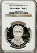Modern Issues, 2009-P $1 Braille PR69 Ultra Cameo NGC. NGC Census: (3683/560).PCGS Population (1570/118). Numismedia Wsl. Price for prob...