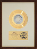 "Music Memorabilia:Awards, The Partridge Family ""I Think I Love You"" RIAA Gold Record Award (1970). ..."