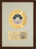 "Music Memorabilia:Awards, Bread ""Make It With You"" RIAA Gold Record Award (1970)...."