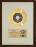 "Music Memorabilia:Awards, The Mama's & The Papa's ""Monday, Monday"" RIAA Gold Record Award(1966). ..."