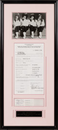 Music Memorabilia:Autographs and Signed Items, The Shangri-Las Signed Shivaree TV Contract in a FramedDisplay (1965)....