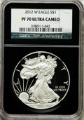 Modern Bullion Coins, 2012-W $1 Silver American Eagle PR70 Ultra Cameo NGC. 25thAnniversary Holder. NGC Census: (3893). PCGS Population (672). ...