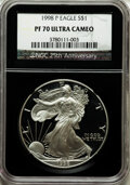 Modern Bullion Coins, 1998-P $1 Silver Eagle PR70 Ultra Cameo NGC. 25th AnniversaryHolder. NGC Census: (1055). PCGS Population (1102). Numismed...
