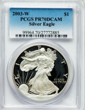 Modern Bullion Coins: , 2003-W $1 Silver Eagle PR70 Deep Cameo PCGS. PCGS Population(1609). NGC Census: (7768). Numismedia Wsl. Price for problem...