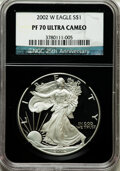 Modern Bullion Coins, 2002-W $1 Silver Eagle PR70 Ultra Cameo NGC. 25th AnniversaryHolder. NGC Census: (3647). PCGS Population (1478). Numismed...