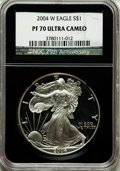 Modern Bullion Coins, 2004-W $1 Silver Eagle PR70 Ultra Cameo NGC. 25th AnniversaryHolder. NGC Census: (9104). PCGS Population (1847). Numismed...