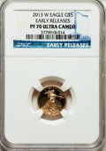 Modern Bullion Coins, 2013-W G$5 Tenth-Ounce Gold American Eagle, Early Releases PR70Ultra Cameo NGC. NGC Census: (0). PCGS Population (274)....