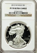 Modern Bullion Coins, 2013-W $1 One-Ounce Silver American Eagle PR70 Ultra Cameo NGC. NGCCensus: (0). PCGS Population (1703). ...