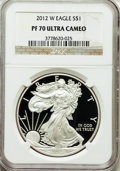 Modern Bullion Coins, 2012-W $1 Silver American Eagle PR70 Ultra Cameo NGC. NGC Census:(3893). PCGS Population (672). Numismedia Wsl. Price for...
