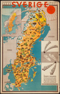 "Movie Posters:Miscellaneous, Swedish Poster Lot (The Northern Tourist Traffic Committee,1931). Swedish Railway Maps (3) (23"" X 23"" - 23"" X 36""). Miscella... (Total: 3 Item)"