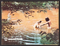 """Woodstock (Warner Brothers, 1970). Program (48 Pages, 8.5"""" X 11""""), and Double Sided Soundtrack Ad (8.25""""..."""