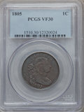 Large Cents: , 1805 1C VF30 PCGS. PCGS Population (21/94). NGC Census: (6/75).Mintage: 941,116. Numismedia Wsl. Price for problem free NG...