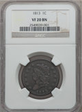 Large Cents: , 1813 1C VF20 NGC. NGC Census: (8/98). PCGS Population (16/128).Mintage: 418,000. Numismedia Wsl. Price for problem free NG...